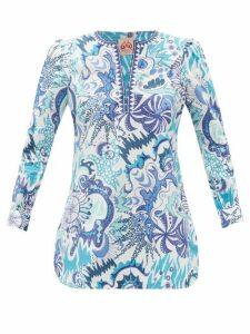 Le Sirenuse, Positano - Kate Psycho-print Cotton Tunic Top - Womens - Blue Print