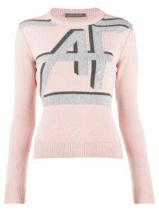 Alberta Ferretti logo print knitted sweater - PINK