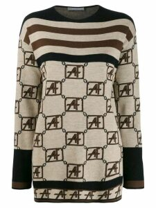Alberta Ferretti geometric pattern jumper - Brown
