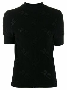 Courrèges short-sleeve embroidered top - Black