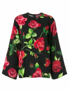 Dolce & Gabbana wide sleeve rose print blouse - Black