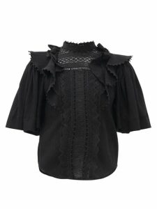 Isabel Marant - Ioleya Pompom-trim Crinkled Cotton-blend Blouse - Womens - Black