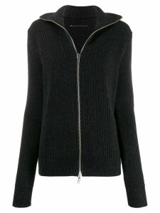 Mm6 Maison Margiela ribbed zip front jumper - Black