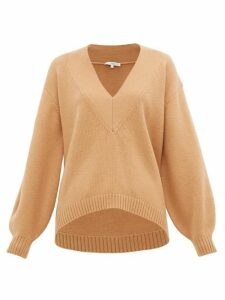 Tibi - V-neck Wool-blend Sweater - Womens - Camel
