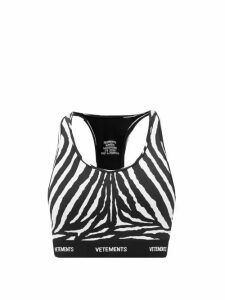 Vetements - Racerback Zebra-print Jersey Cropped Top - Womens - Black White