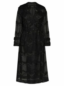 Simone Rocha bead-embellished double-breasted tulle trench coat -