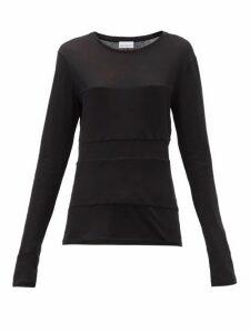 Raey - Double-panel Long-sleeved Cotton-blend T-shirt - Womens - Black