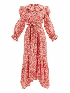 Horror Vacui - Defensia Scalloped Floral-print Cotton Dress - Womens - Red Multi