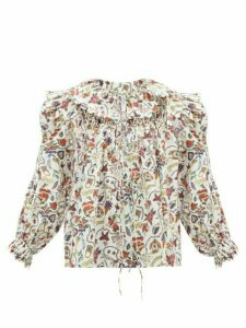 Horror Vacui - Defensia-print Cotton-poplin Blouse - Womens - White Multi