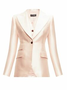 Dolce & Gabbana - Single-breasted Mikado-silk Blazer - Womens - Light Pink