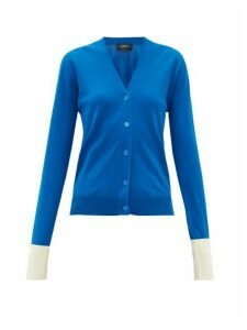 Rochas - Contrast-cuff Cotton Cardigan - Womens - Blue
