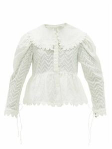 Horror Vacui - Lisi Scalloped Swiss-dot Cotton Blouse - Womens - White