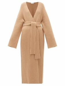 Raey - Belted Ribbed-knit Cashmere Maxi Cardigan - Womens - Beige