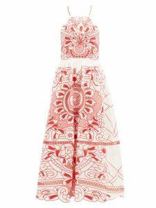 REDValentino - Floral-embroidered Cotton-poplin Midi Dress - Womens - White