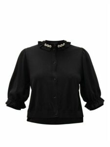 Simone Rocha - Embellished-collar Cutout Wool-blend Cardigan - Womens - Black Multi
