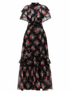 Erdem - Mauricia Carrington Rose-print Cotton-blend Gown - Womens - Black Multi