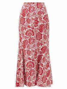 Erdem - Ivetta Floral-jacquard Midi Skirt - Womens - Red White