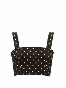 Balmain - Polka-dot Cropped Jersey Top - Womens - Black White