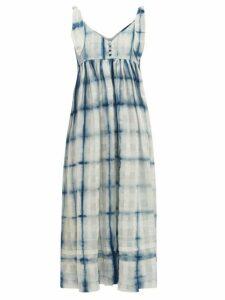 Story Mfg. - Daisy Tie-dye Organic Cotton Maxi Dress - Womens - Blue White