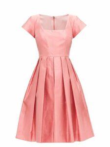 Dolce & Gabbana - Square-neck Slubbed-silk Shantung Midi Dress - Womens - Pink