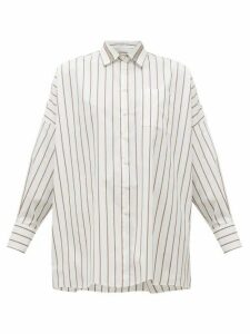 Brunello Cucinelli - Monili-chain Striped Cotton Poplin Shirt - Womens - White Multi