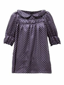 Comme Des Garçons Girl - Peter Pan-collar Polka-dot Satin-twill Blouse - Womens - Navy