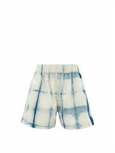 Story Mfg. - Yeah Tie-dye Organic-cotton Shorts - Womens - Blue White