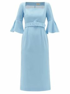 Beulah - Camellia Belted Wool-crepe Dress - Womens - Light Blue