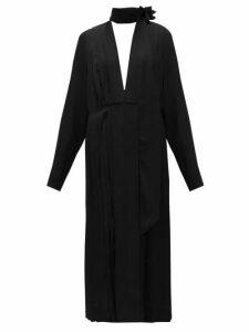 Victoria Beckham - Pussy-bow Pleated Crepe Midi Dress - Womens - Black
