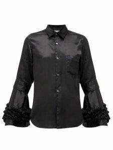 Comme Des Garçons Comme Des Garçons - Flared-cuff Satin Shirt - Womens - Black