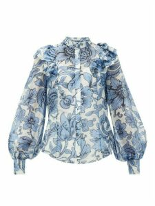 Erdem - Caterina Modotti Wallpaper Ruffled Blouse - Womens - Blue White
