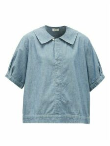 Chimala - Sailor-collar Cotton-chambray Shirt - Womens - Light Blue