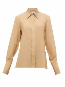 Victoria Beckham - Point-collar Silk-crepe De Chine Shirt - Womens - Camel