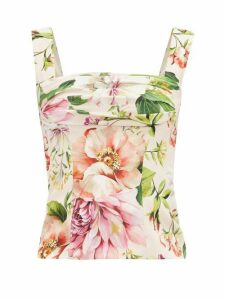 Dolce & Gabbana - Gathered Peony-print Silk-organza Top - Womens - Pink Print