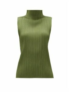 Pleats Please Issey Miyake - High-neck Technical-pleated Top - Womens - Khaki