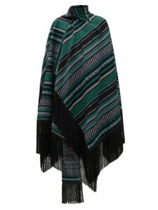 Erdem - Thera Striped Cotton-blend Wrap Cape - Womens - Black Green