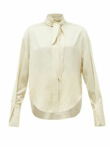 Petar Petrov - Cruz Tie-neck Satin-striped Silk Blouse - Womens - Ivory Multi