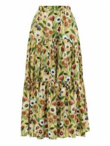 Borgo De Nor - Billie Floral-print Cotton-poplin Maxi Skirt - Womens - Yellow Multi