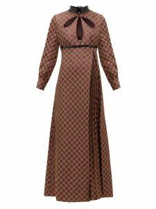 Gucci - Cutout Gg-jacquard And Lurex Cotton-blend Dress - Womens - Brown