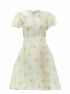 Brock Collection - Floral-print Silk-organza Dress - Womens - Beige Print