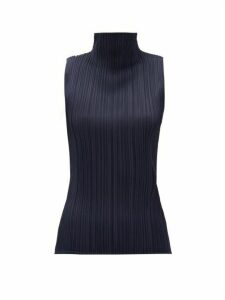 Pleats Please Issey Miyake - High-neck Technical-pleated Top - Womens - Navy