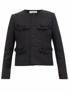 Comme Des Garçons Girl - Ruffled Wool-twill Cardigan - Womens - Navy