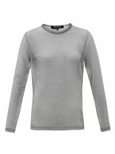 Junya Watanabe - Sheer Raised-seam Metallic T-shirt - Womens - Silver