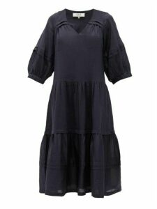 Sea - Lucy Pintucked Cotton Midi Dress - Womens - Navy