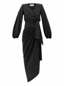 Alexandre Vauthier - Tie-waist Silk-blend Crepe Dress - Womens - Black