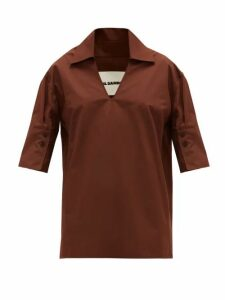 Jil Sander - Point-collar V-neck Cotton Blouse - Womens - Brown