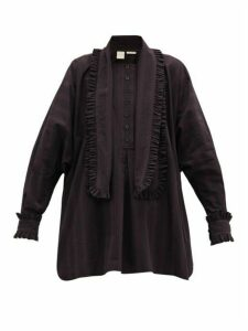 Zanini - Frilled Cotton-poplin Shirt - Womens - Purple