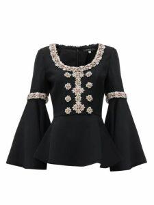 Andrew Gn - Peplum-hem Crystal-embellished Top - Womens - Black