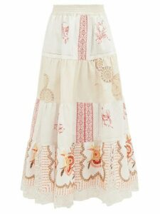 Rianna + Nina - Vintage Kendima Volant Embroidered Cotton Skirt - Womens - White Multi