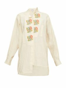 Loewe - Asymmetric Floral Cross-stitch Linen Shirt - Womens - Cream Multi